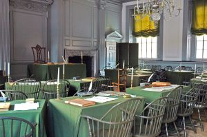 The Assembly Room in Philadelphia's Independence Hall, where the Second Continental Congress adopted the Declaration of Independence.