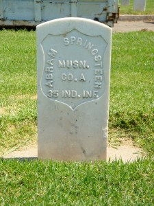 Abram Furman Springsteen's headstone in Los Angeles National Cemetery