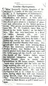 Springsteen-Coombs Wedding Announcement, after 22 Jul 1885; family newspaper clipping so source unknown.