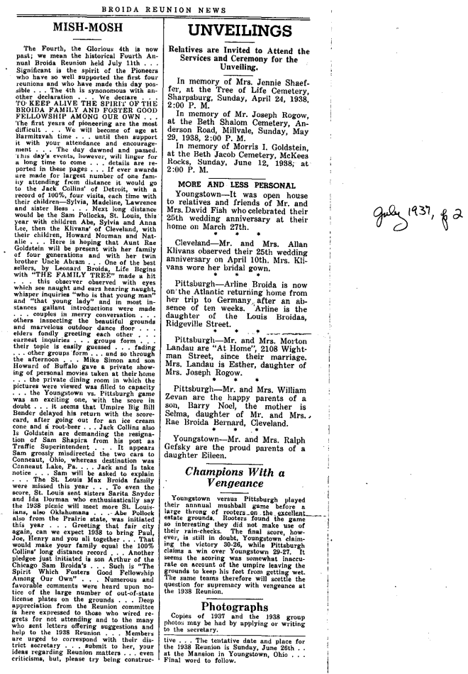 1938 Broida Reunion News, page 2. (Click to enlarge.)
