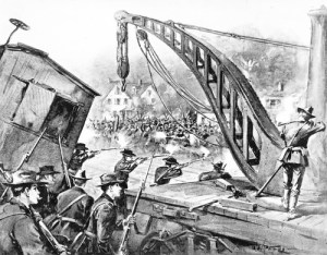 A Drawing of National Guard troops firing on Pullman strikers in 1894. More than 1000 railcars were destroyed during the strike. Published in Harper's Weekly, public domain.