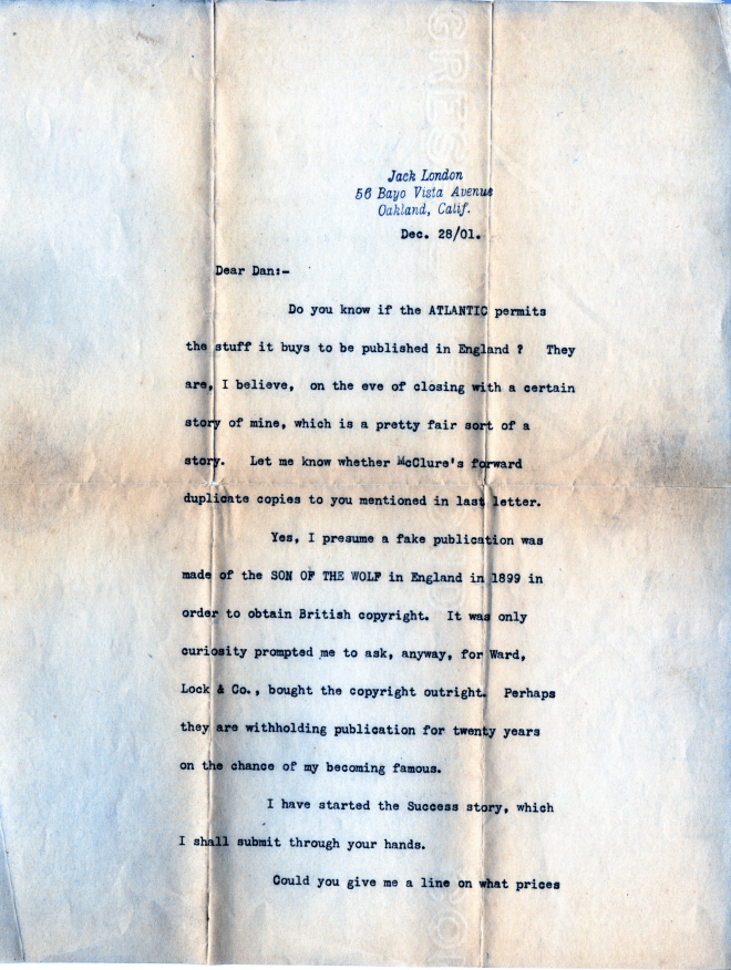 December 28, 1901 letter from Jack London to Dan [Murphy?], page 1. Published with permission of the Edwin Markham Archive, Horrmann Library, Wagner College. (Click to enlarge.)