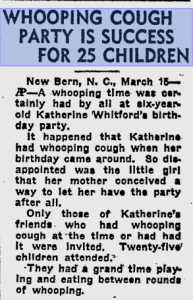 1939 Whooping Cough Party. The Independent, St. Petersburg, Florida.