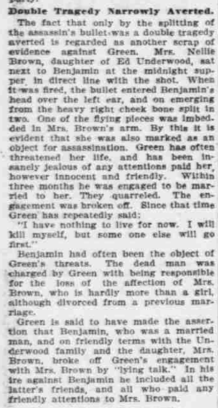 """Points to Green,"" The Morning Oregonian,(Portland, Oregon) March 26, 1901, Volume 41, Number 12,569, Page 4, Columns 1-3, Part 2. Public Domain."