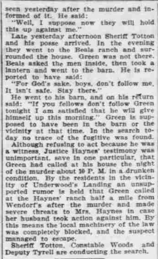 """Points to Green,"" The Morning Oregonian,(Portland, Oregon) March 26, 1901, Volume 41, Number 12,569, Page 4, Columns 1-3, Part 6. Public Domain."