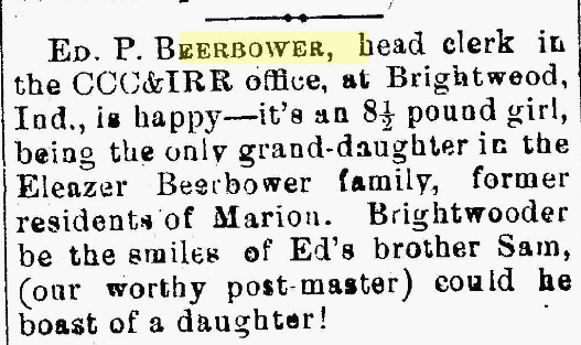 Mary Emma Beerbower's birth announcement in the Marion [Ohio] Daily Star, 26 Apr 1880.