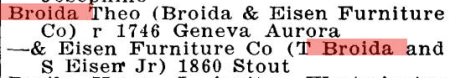 Broida & Eisen Furniture and Theodore Broida in 1920 Denver City Directory