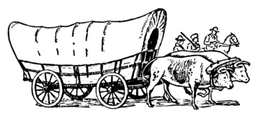 Covered wagon pulled by oxen. Wikimedia Commons.