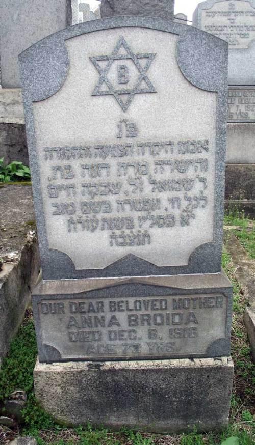 Anna Horowitz Broida- Headstone- in Beth Hamedrash Hagadol Cemetery, McKees Rock, Allegheny, Pennsylvania.