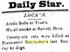 26 rats killed by dogs at Postmaster [Samuel T.] Beerbower's.