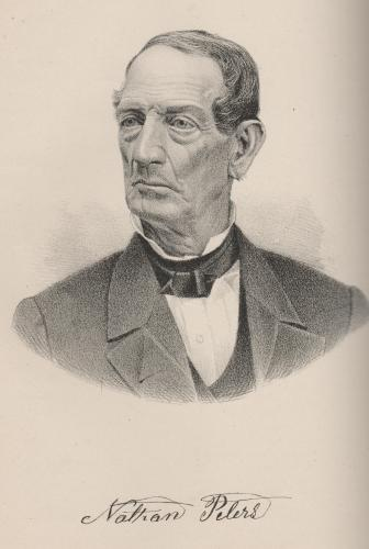 "Nathan Peters- Portrait from ""History of Marion Co OH,"" 1883, p226. Drawn from a picture of him, per his bio in the above."