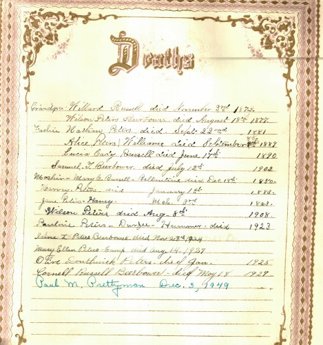 Beerbower-Peters family Bible- Deaths