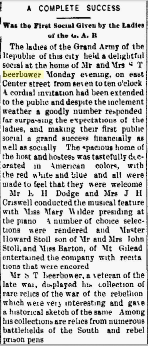 "S. T. and Irene PETERS BEERBOWER-GAR Social a ""Complete Success"" in The Marion Daily Star, 22 Jan 1895, Part 1."