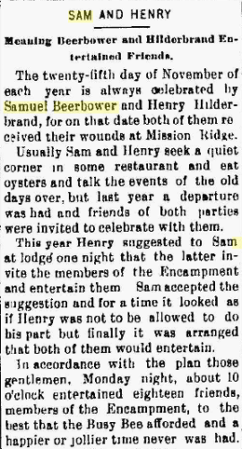 "Samuel T. BEERBOWER- ""Sam and Henry""- observation of the anniversary of Mission Ridge_The Marion Daily Star [Marion OH], 26 Nov 1895"