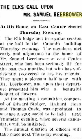 "Samuel T. BEERBOWER. ""The Elks call…"" in Marion Daily Sta"