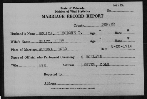 "Theodore ""Dave"" Broida and Lucy M. Shatzke Marriage Record Report"