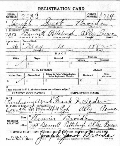 Joseph Jacob Broida- WWI Draft Registration Card, Part 1.