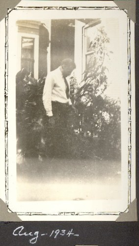 Gerard William Helbling in his garden, August 1934. Family photo album.