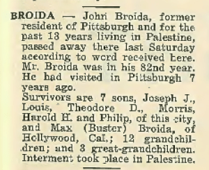"John Broida Obituary. ""The American Jewish Outlook"" 18 Nov 1938, Vol. 8, No. 24, Page 15. Courtesy of ""Pittsburgh Jewish Newspaper Project,"" http://digitalcollections.library.cmu.edu/pjn/index.jsp (Click to enlarge.)"