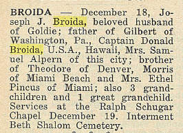 Joseph Jacob Broida- Obituary