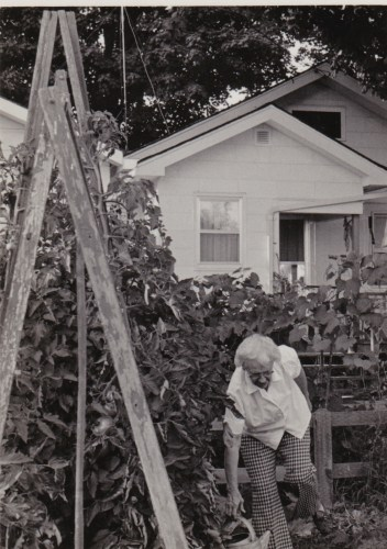 Edith Roberts Luck in her garden, circa 1980s?
