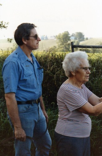 Edward A. McMurray and his mother, Edith Roberts Luck surveying their family farm, circa 1980.