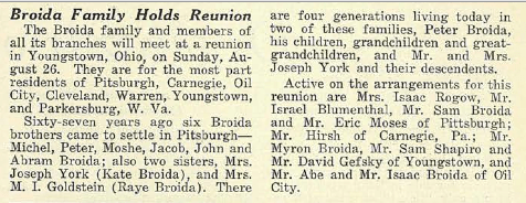 1934 Broida Reunion in The Jewish Criterion, Vol. 84, No. 16, Page 15, Columns 3-4. Courtesy of the Pittsburgh Jewish Newspaper Project.