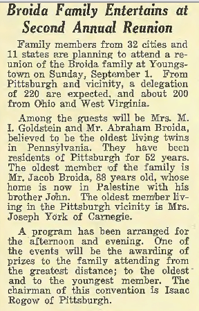 1935 Broida Family Reunion. The Jewish Criterion, 30 Aug 1935, Vol. 86, No. 17, Page 7, Column 3. Courtesy of Pittsburgh Jewish Newspaper Project.