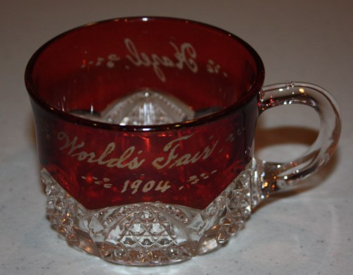 Souvenir of 1904 St. Louis World's Fair-Pressed Ruby Glass Punch Cup-front.