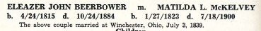 """Eleazer John Beerbower and Matilda L. McKelvey- marriage information from """"House of Bierbauer- Two Hundred Years of Family History"""" by JC Culver and CW Beerbower, 1942, page 146."""