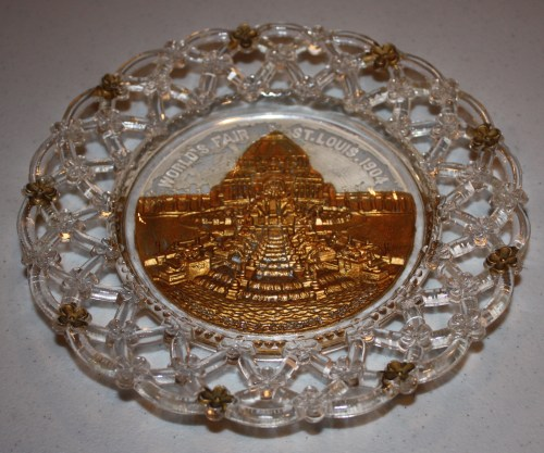 1904 St. Louis World's Fair Goofus Glass Plate Souvenir- Festival Hall and Cascade Gardens.