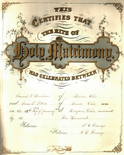Marriage Certificate of Sauel Beerbower and Irene Peters, 18 Jan 1867, Bucyrus, Ohio. Posted with kind permission of the Marion County Historical Society.