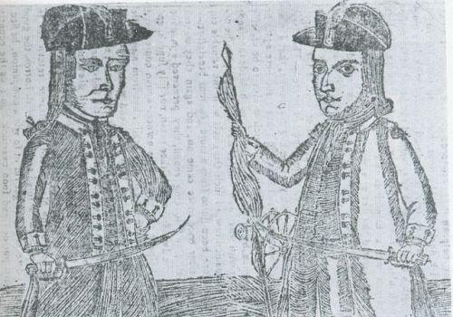 """Shays's Rebellion."" The portraits of Daniel Shays and Job Shattuck, leaders of the Massachusetts ""Regulators, from ""Bickerstaff's Boston Almanack of 1787, National Portrait Gallery, Smithsonian Institution. via Wikimedia, public domain."