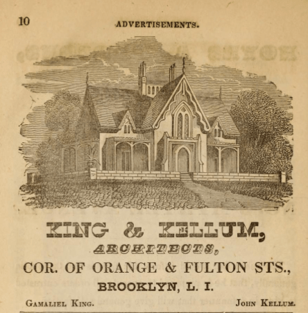 King & Kellum, Architects, Ad, Brooklyn, NY. From Hearnes Brooklyn City Directory for 1850-1851 via InternetArchive.