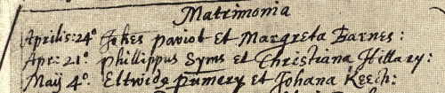 Record of Eltweed Pomeroy's first marriage to Johana KEECH in Beamister, Dorset, England. Unknown source, likely one of the Pomeroy compiled genealogies.