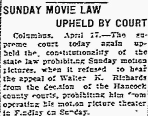 1923 Prohibition on Sunday Movies, in Marion {OH] Daily Star, 17 Apr 1923, Vol. XLVII, No. 122, page 1. Used with kind permission of the Marion Daily Star.