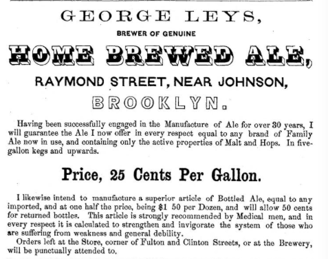1857 Home Brewed Ale advertisement, appendix-no page, in Smiths Brooklyn Directory for yr ending May 1 1857, via InternetArchive. (Click to enlarge.)