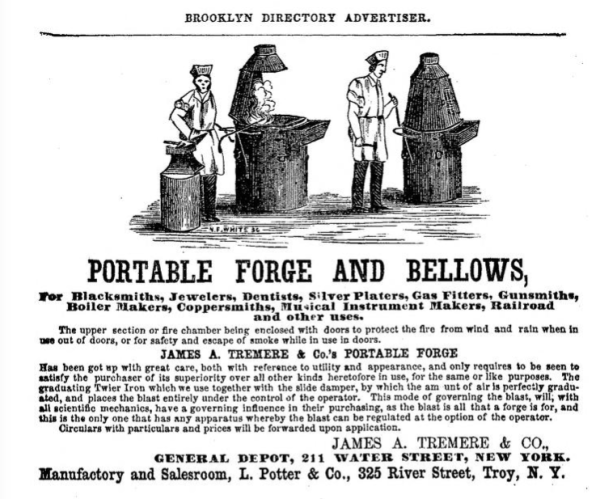 Portable Forge and Bellows Advertisement in Smiths Brooklyn Directory for yr ending May 1 1857, page 18. via InternetArchive.