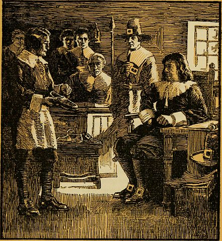 "A Puritan gathering, from ""New England, old and new; a brief review of some historical and industrial incidents in the Puritan ""New English Canaan,"" still the Land of promise."" via Wikimedia; public domain."
