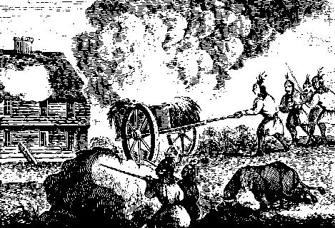 Indians Attacking a Garrison House from an old wood Engraving. This is likely a depiction of the attack on the Haynes Garrison, Sudbury, April 21,1676. via Wikimedia, public domain.