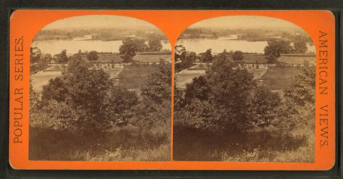 """""""View from Long Hill looking towards Agawam"""" by E. H. T. Anthony, stereoscopic card via Wikimedia Commons, public domain. While taken a couple of centuries after the story below, the Connecticut River in Springfield, Massachusetts, likely looked similar in the late 1600s."""