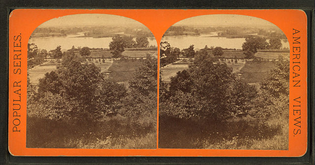 """View from Long Hill looking towards Agawam"" by E. H. T. Anthony, stereoscopic card via Wikimedia Commons, public domain. While taken a couple of centuries after the story below, the Connecticut River in Springfield, Massachusetts, likely looked similar in the late 1600s."
