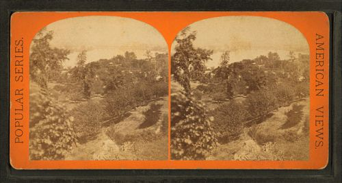 """View from Long Hill looking up the river"" by George H. Ireland, stereoscope card, via Wikimedia, public domain. (Click to enlarge.)"