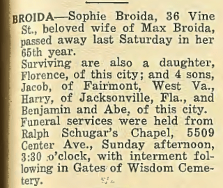 Sunday's Obituary: Sophie Broida of Pittsburgh, Pennsylvania