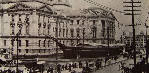 The USS Kearsage on display on the Indiana statehouse grounds at the 1893 GAR National Convention. Abrams F. Springsteen attended this encampment. Public domain via Wikipedia.