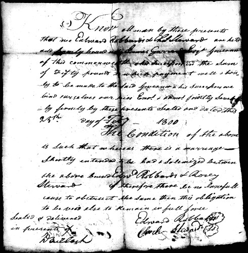 Marriage Bond for Edward Roberts and Rosy Stewart, 1800.