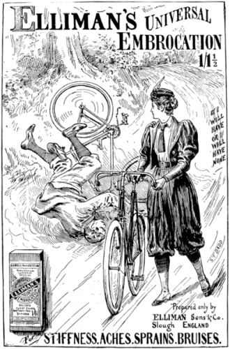 1897- the advance of bloomer styles made riding a bit safer for women. It was still scandalous, so maybe not so safe for me who saw them! via Wikipedia, public domain.