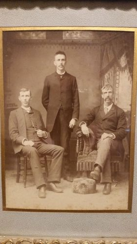 The sons of William Roberts and Sarah Christie Roberts, from left: Isaac H. Roberts, George L. Roberts standing, and John W. Roberts on right.