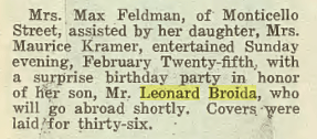 Leonard Broida- surprise party, in the Jewish Criterion, 09 March 1923, Vol. 60, No. 26, page 37, column 3. Posted with kind permission of the Pittsburgh Jewish Newspaper Project.