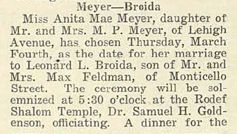 Leonard L. BROIDA and Anita Mae MEYER- Wedding Announcement, part 1, via 12 February 1926 Jewish Criterion, Vol. 67, No. 14, Page 18, posted with kind permission of Pittsburgh Jewish Newspaper Project.